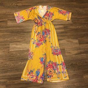Floral mustard jumpsuit